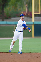 AZL Dodgers shortstop Jacob Amaya (55) makes a throw to first base against the AZL Brewers on July 25, 2017 at Camelback Ranch in Glendale, Arizona. AZL Dodgers defeated the AZL Brewers 8-3. (Zachary Lucy/Four Seam Images)