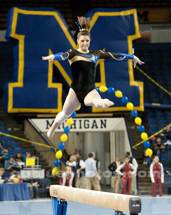 University of Michigan women's gymnastics 196.650-196.275 loss to #3 Oklahoma at Crisler Arena in Ann Arbor, MI, on February 26, 2011.