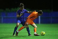 Toby Barlow of Romford and Jack Curtis of Brentwood during Romford vs Brentwood Town, Velocity Trophy Football at the Brentwood Centre on 8th October 2019