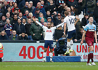 23rd November 2019; London Stadium, London, England; English Premier League Football, West Ham United versus Tottenham Hotspur; Lucas Moura of Tottenham Hotspur celebrates scoring his sides 2nd goal in the 41st minute with Harry Kane of Tottenham Hotspur to make it 0-2 - Strictly Editorial Use Only. No use with unauthorized audio, video, data, fixture lists, club/league logos or 'live' services. Online in-match use limited to 120 images, no video emulation. No use in betting, games or single club/league/player publications