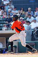 Xavier Avery #32 of the Frederick Keys at bat during a game against the Myrtle Beach Pelicans on May 2, 2010 in Myrtle Beach, SC.