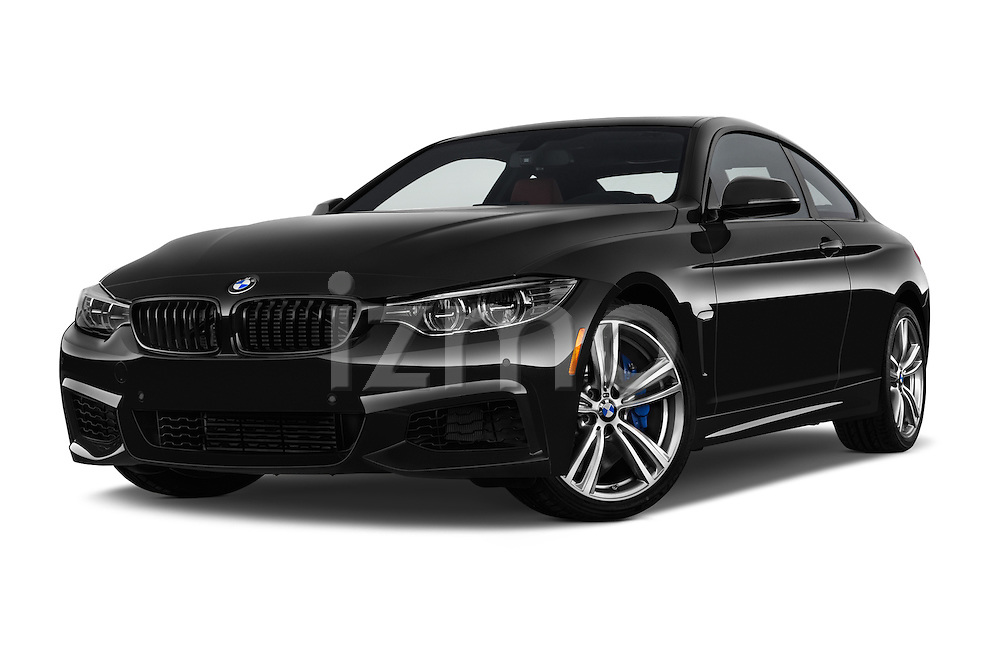 Stock pictures of low aggressive front three quarter view of 2017 BMW 4-Series 440i 2 Door Coupe Low Aggressive