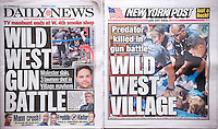 "Front pages on Tuesday, July 29, 2014 of the New York Daily News and the New York Post use similar terminology to report on the previous days ""Wild West Shootout"" in the Smoking Culture smoke shop in Greenwich Village in New York. Alleged child molester Charles Mozdir was shot and killed and two US Marshals and a NYPD officer were injured during the confrontation.  (© Richard B. Levine)"
