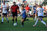 Kansas City, MO - Saturday July 16, 2016: Caroline Kastor, Victoria Huster during a regular season National Women's Soccer League (NWSL) match between FC Kansas City and the Washington Spirit at Swope Soccer Village.
