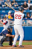 Anthony Rizzo #25 of the Salem Red Sox at bat against the Kinston Indians at Lewis-Gale Field May 1, 2010, in Winston-Salem, North Carolina.  Photo by Brian Westerholt / Four Seam Images