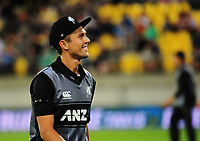 NZ's Trent Boult grins at fans during the International Twenty20 cricket match between the NZ Black Caps and England at Westpac Stadium in Wellington, New Zealand on Tuesday, 13 February 2018. Photo: Dave Lintott / lintottphoto.co.nz