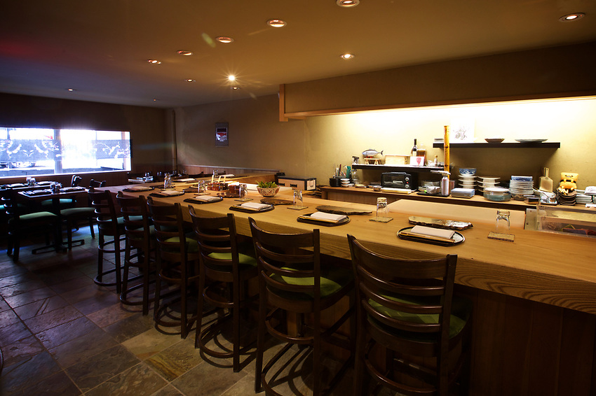 NEW YORK, NY - June 30, 2017: Cagen, a sushi restaurant in the East Village, specializing in omakase by chef Toshio Tamita.<br /> <br /> Credit: Clay Williams.<br /> <br /> &copy; Clay Williams / http://claywilliamsphoto.com