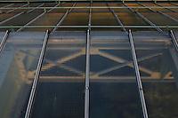 Tropical Rainforest Glasshouse (formerly Le Jardin d'Hiver or Winter Gardens), 1936, René Berger, Jardin des Plantes, Museum National d'Histoire Naturelle, Paris, France. Detail of window panes in the roof, showing the metal Art Deco structure beneath them.