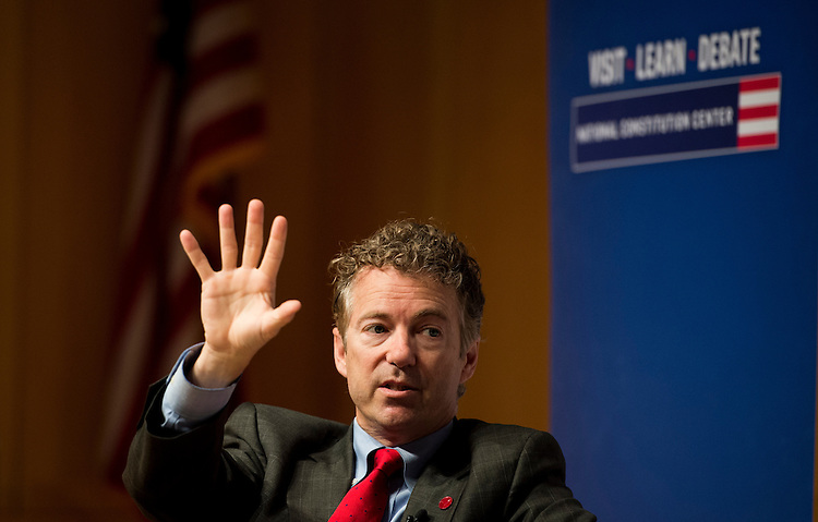 UNITED STATES - MAY 18: Presidential candidate Sen. Rand Paul, R-Ky., speaks at the National Constitution Center in Philadelphia on Monday, May, 18, 2015. (Photo By Bill Clark/CQ Roll Call)