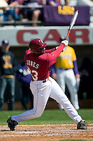 South Carolina second baseman Travis Jones (33) follows through on his swing versus LSU at Sarge Frye Stadium in Columbia, SC, Thursday, March 18, 2007.