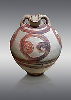 Minoan polychrome amphora decorated with large circles, Akrotiri, Thira (Santorini) National Archaeological Museum Athens. 17th-16th cent BC.<br /> <br /> The circle design on the pot may have been a symbol indicating its contents