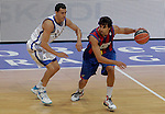 FC Barcelona's Victor Sada (r) and Real Madrid's Pablo Prigioni during ACB Supercup Semifinal match.September 24,2010. (ALTERPHOTOS/Acero)