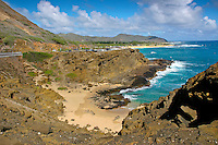 View of Halona Cove near Sandy Beach along the Ka Iwi coastline of East O'ahu.
