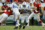 31 October 2004: Edgerrin James (32) runs for nine yards in the first quarter. The Kansas City Chiefs defeated the Indianapolis Colts 45-35 at Arrowhead Stadium in Kansas City, MO in a regular season National Football League game..