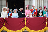 Camilla, Duchess of Cornwall; Prince Charles, Prince of Wales; HM Queen Elizabeth II &amp; Prince Philip, Duke of Edinburgh; Catherine, Duchess of Cambridge; Princess Charlotte; Prince George &amp; Prince William, Duke of Cambridge; Savanah &amp; Isla Phillips &amp; Peter Phillips on the balcony of Buckingham Palace following the Trooping of the Colour Ceremony celebrating the Queen's official birthday. London, UK. <br /> 17 June  2017<br /> Picture: Steve Vas/Featureflash/SilverHub 0208 004 5359 sales@silverhubmedia.com