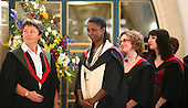 Waiting to be presented with the degree certificate, degree ceremony, University of Surrey.