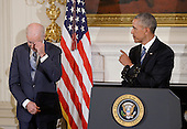 United States Vice-President Biden gets emotional as US President Barack Obama delivers remarks during an event in the State Dinning room of the White House, January 12, 2017 in Washington, DC. <br /> Credit: Olivier Douliery / Pool via CNP