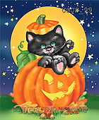 Janet, REALISTIC ANIMALS, Halloween, paintings, Kitten in Pumpkin(USJS99,#A#)