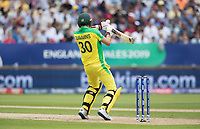 Pat Cummins (Australia) attempts to ramp a short delivery during Australia vs England, ICC World Cup Semi-Final Cricket at Edgbaston Stadium on 11th July 2019