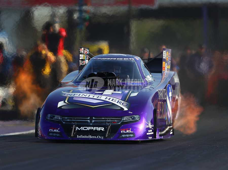 Apr 21, 2017; Baytown, TX, USA; NHRA funny car driver Jack Beckman during qualifying for the Springnationals at Royal Purple Raceway. Mandatory Credit: Mark J. Rebilas-USA TODAY Sports
