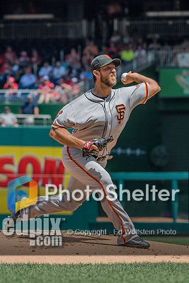 7 August 2016: San Francisco Giants starting pitcher Madison Bumgarner on the mound against the Washington Nationals at Nationals Park in Washington, DC. The Nationals shut out the Giants 1-0 to take the rubber match of their 3-game series. Mandatory Credit: Ed Wolfstein Photo *** RAW (NEF) Image File Available ***