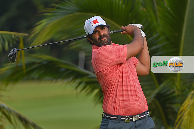Mohamed ALNOAIMI (BHR) watches his tee shot on 2 during Rd 1 of the Asia-Pacific Amateur Championship, Sentosa Golf Club, Singapore. 10/4/2018.<br /> Picture: Golffile | Ken Murray<br /> <br /> <br /> All photo usage must carry mandatory copyright credit (© Golffile | Ken Murray)