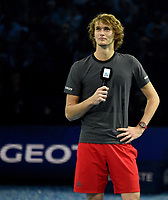 Alexander Zverev giving his victory speech <br /> <br /> Photographer Hannah Fountain/CameraSport<br /> <br /> International Tennis - Nitto ATP World Tour Finals Day 7 - O2 Arena - London - Saturday 17th November 2018<br /> <br /> World Copyright &copy; 2018 CameraSport. All rights reserved. 43 Linden Ave. Countesthorpe. Leicester. England. LE8 5PG - Tel: +44 (0) 116 277 4147 - admin@camerasport.com - www.camerasport.com