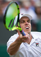 Sam Querrey (24) of United States in action during his victory against Andy Murray (1) of Great Britain in their Men's Singles Quarter Final Match today - Querrey def Murray 3-6, 6-4, 6-7, 6-1, 6-1<br /> <br /> Photographer Ashley Western/CameraSport<br /> <br /> Wimbledon Lawn Tennis Championships - Day 9 - Wednesday 12th July 2017 -  All England Lawn Tennis and Croquet Club - Wimbledon - London - England<br /> <br /> World Copyright &not;&uml;&not;&copy; 2017 CameraSport. All rights reserved. 43 Linden Ave. Countesthorpe. Leicester. England. LE8 5PG - Tel: +44 (0) 116 277 4147 - admin@camerasport.com - www.camerasport.com