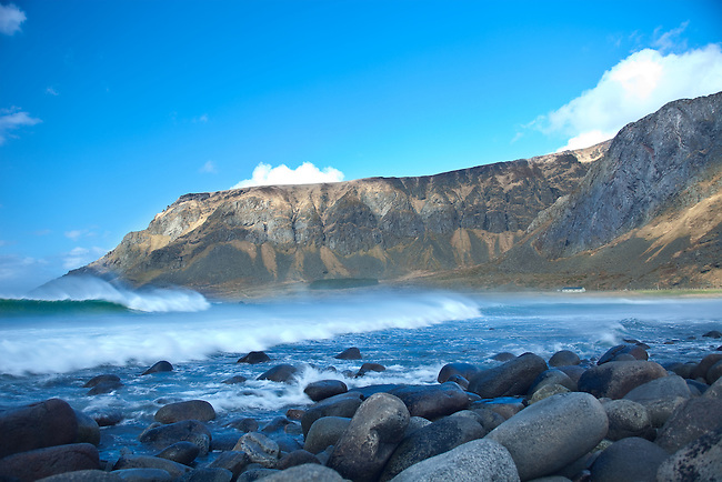A very windy day at Unstad Beach, Lofoten. Northern Norway.