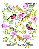 Kate, FLOWERS, BLUMEN, FLORES, paintings+++++Bird on floral branches.,GBKM543,#f#, EVERYDAY ,birds