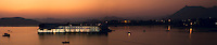 Panoramic view of Taj Lake Palace, located in the middle of Lake Pichola.<br /> (Photo by Matt Considine - Images of Asia Collection)