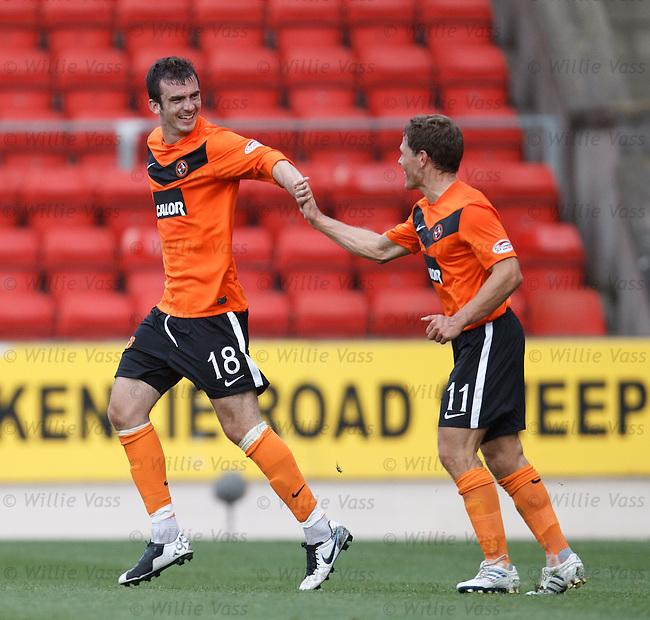 Gavin Gunning celebrates his equalising goal with Dundee Utd team-mate John Rankin