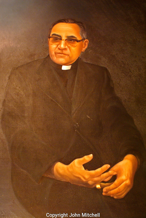 Portrait of Archbishop Oscar Romero Chapel on display in the chapel next to the Centro Monsegnor Romero at the Universidad Centroamericana or UCA in San Salvador, El Salvador