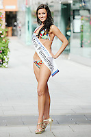 17/9/2010. Miss Ireland contestants. Miss Fermanagh Nicki Cartmill is pictured at St Stephens Green. the 35 Miss Ireland contestants officially unveiled in their swimwear and sashes for the 1st time at Stephen's Green Shopping Centre,  Dublin. Picture James Horan/Collins Photos