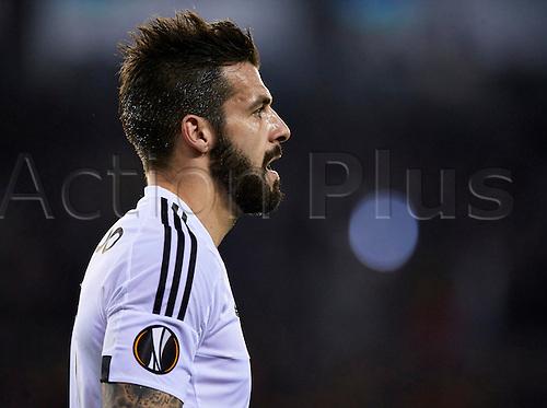 18.02.2016. Mestalla Stadium, Valencia, Spain. Europa League. Valencia versus Rapid Wien. Forward Alvaro Negredo of Valencia CF looks on