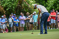 Justin Rose (GBR) sinks his birdie putt on 8 during round 4 of the Fort Worth Invitational, The Colonial, at Fort Worth, Texas, USA. 5/27/2018.<br /> Picture: Golffile | Ken Murray<br /> <br /> All photo usage must carry mandatory copyright credit (© Golffile | Ken Murray)