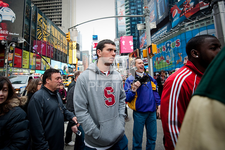 NEW YORK, NY--Stanford quarterback and Heisman candidate Andrew Luck goes through preparations for the awards ceremony held at The Best Buy Theater in Times Square.