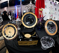 LOUISVILLE, KENTUCKY - MAY 03: A general view of the trophies to be earned during Derby week before the Kentucky Derby Draw at Churchill Downs on May 3, 2017 in Louisville, Kentucky. (Photo by Douglas DeFelice/Eclipse Sportswire/Getty Images)