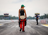 Aug 20, 2017; Brainerd, MN, USA; NHRA top fuel driver Leah Pritchett inspects the track prior to eliminations of the Lucas Oil Nationals at Brainerd International Raceway. Mandatory Credit: Mark J. Rebilas-USA TODAY Sports