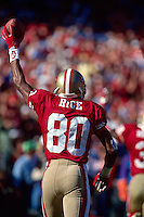 SAN FRANCISCO, CA - Jerry Rice of the San Francisco 49ers celebrates after a touchdown during a game at Candlestick Park in San Francisco, California in 1992. Photo by Brad Mangin