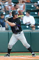 Central Arkansas Bears third baseman Garrett Brown #14 at bat during the NCAA baseball game against the Texas Longhorns on April 24, 2012 at the UFCU Disch-Falk Field in Austin, Texas. The Longhorns beat the Bears 4-2. (Andrew Woolley / Four Seam Images).