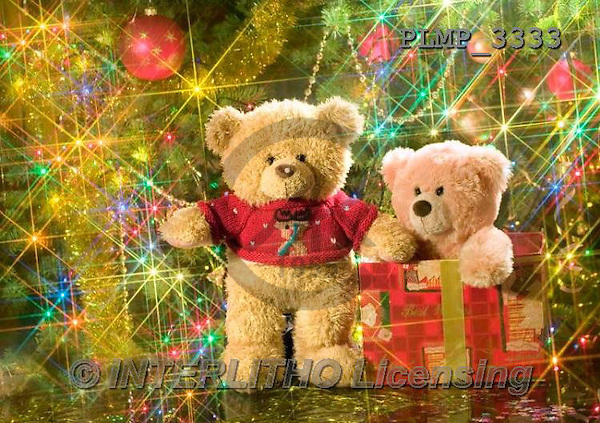 Marek, CHRISTMAS ANIMALS, WEIHNACHTEN TIERE, NAVIDAD ANIMALES, teddies, photos+++++,PLMP3333,#Xa# under Christmas tree,