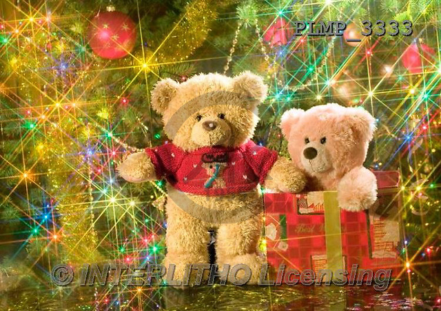 Marek, CHRISTMAS ANIMALS, WEIHNACHTEN TIERE, NAVIDAD ANIMALES, teddies, photos+++++,PLMP3333,#Xa# under Christmas tree,