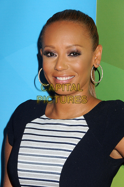 Mel B, Melanie Brown.NBC Universal Summer Press Day 2013 held at the The Langham Huntington Hotel & Spa, Pasadena, California, USA..April 22nd, 2013.headshot portrait black white stripe silver hoop earrings .CAP/ADM/BP.©Byron Purvis/AdMedia/Capital Pictures
