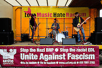 English Defence League (EDL) demonstration<br /> called in protest to the proposed building of a new mosque in Dudley.<br /> <br /> Members of the band 'Thatcher's Love Child' perform in support of a an anti-EDL demonstration organised by Unite Against Fascism and Love Music, Hate Racism.