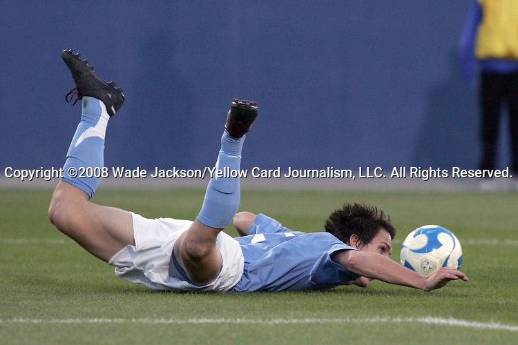 12 December 2008: Zach Loyd (3) of North Carolina takes a spill in the box.  The Wake Forest University Demon Deacons were defeated by the University of North Carolina Tar Heels 0-1 at Pizza Hut Park in Frisco, TX in an NCAA Division I Men's College Cup semifinal game.
