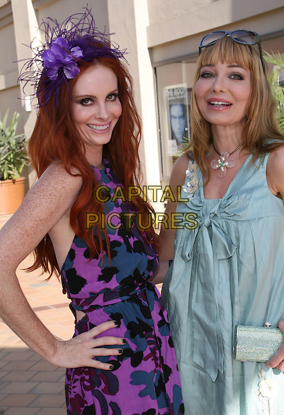 PHOEBE PRICE & LORIELLE NEW.Seen out with her mother around the shops and the Crunch gym in West Hollywood, California, USA,.24 July 2008..half length hand on hip purple hat print dress black grey patterned flower feather hairband .CAP/ADM/FS.©Faye Sadou/Admedia/Capital Pictures