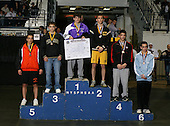 Jamie Franco (1st - Monroe Woodbury); Shawn Brown (2nd - Canton); Paul Liguori (3rd - Wantagh); Matt Cubllos (4th - Guilderland); Jared Messina (5th - Cheektowaga); and Joe Grippi (6th - Fox Lane) pose on the podium for the Division One 125 weight class during the NY State Wrestling Championship finals at Blue Cross Arena on March 9, 2009 in Rochester, New York.  (Copyright Mike Janes Photography)