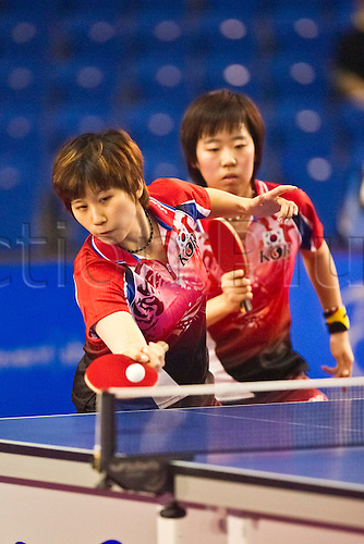 29.01.2011 English Open ITTF Pro Tour Table Tennis from the EIS in Sheffield. Ha Eun Yang and Ha Jung Seok of Korea