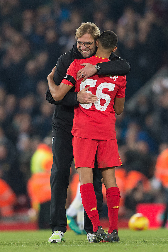 Liverpool manager Jurgen Klopp congratulates Liverpool's Trent Alexander-Arnold<br /> <br /> Photographer Terry Donnelly/CameraSport<br /> <br /> The EFL Cup Quarter-Final  - Liverpool v Leeds  - Tuesday 29th November 2016 - Anfield - Liverpool<br />  <br /> World Copyright &copy; 2016 CameraSport. All rights reserved. 43 Linden Ave. Countesthorpe. Leicester. England. LE8 5PG - Tel: +44 (0) 116 277 4147 - admin@camerasport.com - www.camerasport.com